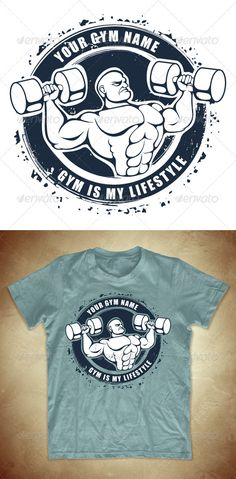 Grunge T-shirt design with bodybuilder - GraphicRiver Item for Sale