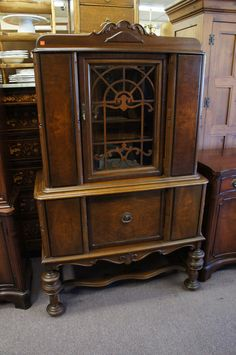 1930's Jacobean China Cabinet finished in Licorice with natural ...