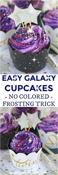 "Galaxy Cupcakes are made easy with the ""no colored buttercream"" trick. No more mess and fuss, these Galaxy Cupcakes are so easy to make!"