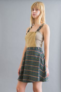 corduroy and stripes overalls women's dress.
