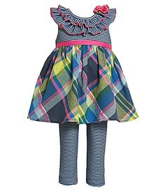 24.99 Bonnie Baby Infant StripedPlaid Dress and Striped Leggings Set #Dillards