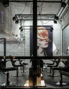 stark white industrial w/ warm color accents in the form of art Táňa Kmenta Hair Studio by Studio Muon Retro Industrial, White Industrial, Industrial Interiors, Industrial Salon Design, Hair Salon Interior, Home Salon, Design Salon, Salon Interior Design, Spa Interior