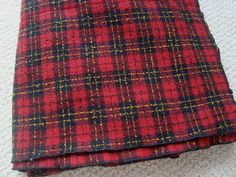 Vintage Red Yellow Black Plaid Throw Blanket 99 x 58 Inches