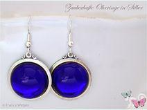 Vintage Jugendstil Ohrhänger 925 Silber royalblau