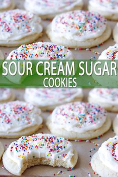 Sour Cream Sugar Cookies Soft sour cream sugar cookies are a holiday must have with our family! These cookies hold their shape well for making cookie cutouts and remain very soft after baked. Like a Lofthouse Cookie but better! Sour Cream Sugar Cookies, Sugar Cookie Bars, Sugar Cookies Recipe, Starbucks Sugar Cookie Recipe, Icebox Cookie Recipe, Orange Cookies, Chocolate Sugar Cookies, Baking Cookies, Kid Desserts