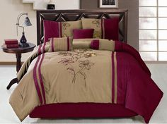 Comforter Cover Set Beige and Pink - 4 Piece Designer Comforter Sets, Queen Size Comforter Sets, Luxury Comforter Sets, King Size Comforters, Bed Comforter Sets, Comforter Cover, Duvet Covers, Burgundy Bedroom, Embroidered Bedding