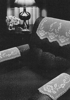crochet rose filet chair set