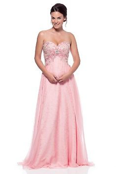 Blushing pink sweetheart sequined chiffon gown Features Sweetheart neckline Strapless Back closure Floor Length Occasion Prom Pageant Formal