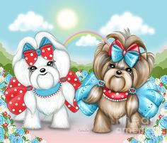 Maltese Painting - Welcome Spring Maltese And Yorkie by Catia Lee