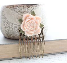 Pink Rose Comb Metal Comb Pastel Pink Peach by apocketofposies