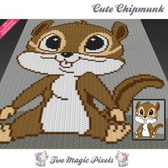 Cute Chipmunk c2c graph crochet pattern; instant PDF download; baby blanket…