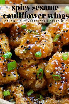 Spicy Sesame Cauliflower Wings - Healthy Eating Tips Veggie Dishes, Veggie Recipes, Whole Food Recipes, Vegetarian Recipes, Dinner Recipes, Cooking Recipes, Healthy Recipes, Vegetarian Wings, Califlour Recipes