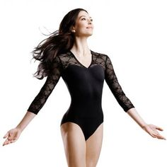 Dritex™ 3/4 sleeve leotard with V front neck