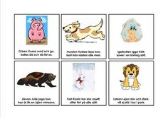 Mariaslekrum - Illustrerade rimramsor. Learn Swedish, Swedish Language, Montessori, Education, Comics, Learning, School, Poster, Animales