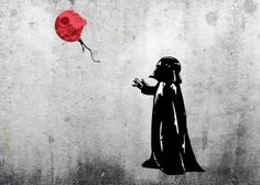 prints on metal Movies & TV little vader lord master jedi banksy graffiti girl balloon boy red inspired