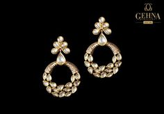 Simply elegant and sophisticated, this stunning pair of earrings, that feature gorgeous polkis in gold, will make you feel absolutely beautiful! Trendy Accessories, Jewelry Accessories, Jewelry Design, Stone Jewelry, Diamond Jewelry, Diamond Earrings, Bridal Earrings, Wedding Jewelry, Gold Earrings Designs