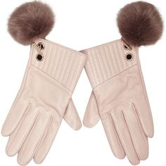 River Island Light pink leather pom pom gloves (2,285 INR) ❤ liked on Polyvore featuring accessories, gloves, leather gloves, pom pom gloves, quilted leather gloves, quilted gloves and river island