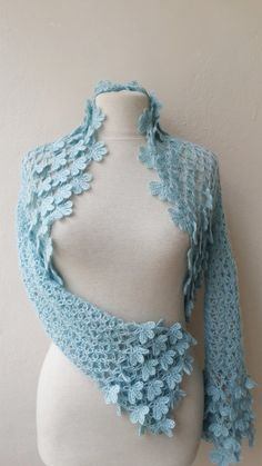 Items similar to Lace shrug bolero jacket blue weddings bridal bridesmaids bride fashion on Etsy Hooded Poncho Pattern, Crochet Cardigan Pattern, Crochet Shawl, Knit Crochet, Lace Shrug, Crochet Designs, Knitting Designs, Crochet Patterns, Summer Knitting