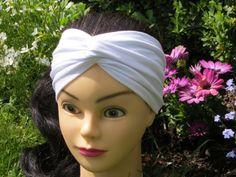 Turban Headband White Head Band Jersey Hair by ragazzamagica White Headband, Twist Headband, Turban Headbands, Paisley Pattern, How To Do Yoga, Trendy Hairstyles, Hair Accessories, Stylish, Etsy