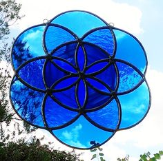 Seed of Life Sacred Geometry Blue Mandala Stained Glass Sun Catcher Tiffany Glass Art Suncatcher Ready to Ship Free Shipping Gift Idea - pinned by pin4etsy.com