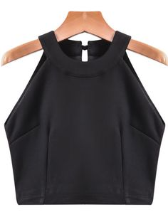 Black Off the Shoulder Crop Vest pictures