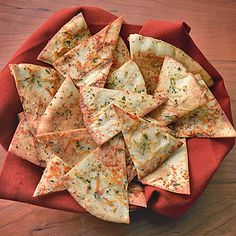 Seasoned Party Pita Chips | Land O'Lakes. Super simple, super scrumptious.