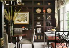 J Stephens Interiors transformed a seldom-used dining room into a flexible, relaxing library space that can still operate as a dining area when needed.