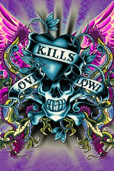 Love Kills Slowly skull by Ed Hardy Christian Audigier, Ed Hardy Designs, Ed Hardy Tattoos, Don Ed Hardy, Skull Wallpaper, Bling Wallpaper, Trippy Wallpaper, Wolf Wallpaper, Butterfly Wallpaper