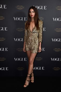 Lily Aldridge in Alexandre Vauthier attends the Vogue Paris 95th Anniversary Party on October 3, 2015 #PFW