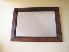 Antique Wooden Framed Beveled Glass Mirror - English Oak Lions head