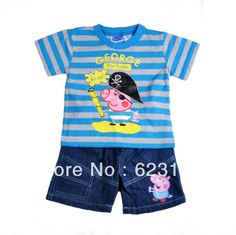 Free shipping peppa pig george pig boy boys short sleeve tops stripes t shirt + short jeans Half Pants Children Boy Summer Set $13.48 - 14.02