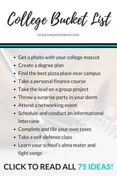 This college bucket list is full of 75 things students should do before graduation. Click through to see the entire list! Ideas fall into different categories: academics, campus life, financial aid, career tips, adulting, and more!