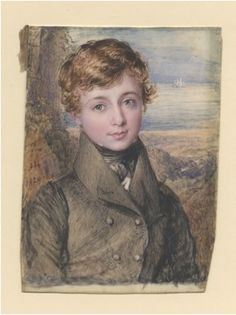 """Twentieth Century British Art by John Linnel: """"Portrait of a Young Man, Male Portraits, Young Man, The Twenties, Watercolour, Initials, Ivory, Painting, Art, Watercolor"""