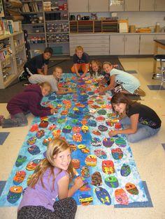 Jamestown Elementary Art Room Kick Off! Group Art Projects, Collaborative Art Projects, School Art Projects, Elementary Art Rooms, Art Lessons Elementary, School Murals, Art School, School Days, Jamestown Elementary