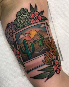 Desert Polaroid by @katietattoos at Black Cobra Tattoo in Little Rock Arkansas. #desert #cactus #mountain #katietattoos #blackcobratattoo #littlerock #arkansas #tattoo #tattoos #tattoosnob