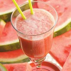 WATERMELON SMOOTHIES ● 6 cups coarsely chopped seedless watermelon; ● 1 cup lemon sherbet; ● 12 ice cubes. Place half of the watermelon in a blender; cover and process until smooth. Add half of the sherbet and ice; cover and process until smooth. Repeat. Pour into chilled glasses; serve immediately. Yields 6 servings. http://www.tasteofhome.com/recipes/Watermelon-Smoothies