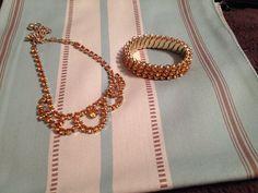 Vintage amber rhinestone bracelet and necklace by 2Heartsstudio, $20.00