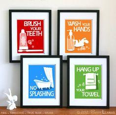 Childrens Bathroom Art Prints, set of 4 - 5 x 7 - custom colors - children's bathroom rules- kids bathroom decor. via Etsy. Kids Bathroom Art, Bathroom Artwork, Childrens Bathroom, Bathroom Rules, Bathroom Prints, Mickey Bathroom, Pirate Bathroom, Bathroom Canvas, Family Bathroom