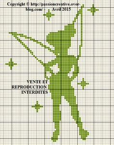 Grille gratuite point de croix : Fée clochette monochrome vert - Le blog de…