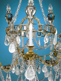 A lovely late 19th century gilt bronze and rock crystal eight rock crystal chandelier 18th century aloadofball Image collections