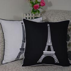 Home Decoration High Quality Paris Eiffel Tower Throw Cushion Cover Pillow Case for Sofa, 45*45CM, US $8.29