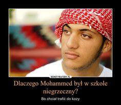Dlaczego Mohammed był w szkole niegrzeczny? – Bo chciał trafić do kozy Abs, Crochet Hats, Humor, Education, Memes, Funny, Knitting Hats, Crunches, Humour