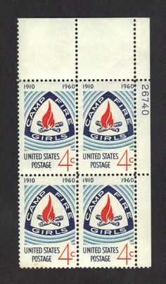 US STAMP #1167 4c CAMP FIRE GIRLS EMBLEM.PB of 4 ( #26740) unused hn VF