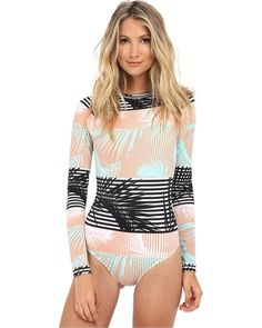 Roxy - Pop Surf Long Sleeve One-Piece (Sunkissed Coral) Women's Swimsuits One Piece