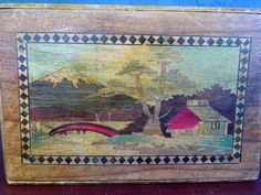 Vintage Japanese Wooden Puzzle Box Mt Fuji On Front Rose On Back... Hide Gifts