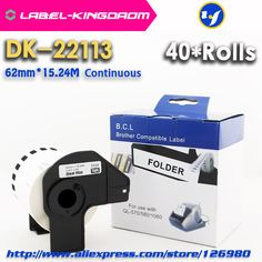 40 Rolls Compatible DK-22113 Label 62mm*15.24M Continuous Compatible for Brother Label Printer Half Transparent Material #Affiliate