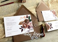 Our Butter Rum Boho Basic suite features a rich earth toned palette to set a romantic mood for any wedding! Soft tones of rust, lavender and burgundy. Invitation Envelopes, Floral Invitation, Wedding Invitation Suite, Invitation Set, Custom Wedding Invitations, Wedding Stationery, Invites, Earth Tone Wedding, Daisy