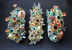 Ceramic Reef Hangings by artist Diane Martin Lublinski.  Follow my work at www.Facebook.com/ClayForms