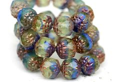 Cathedral czech glass beads Blue green mixed color beads with golden ends marbled faceted beads - 8mm - 10Pc - 0466 (4.55 USD) by MayaHoney