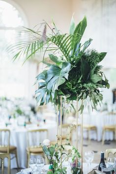 Tropical Table Centrepieces Sat Atop Elegant Gold Geo Stands images ideas from Home Table Ideas Tropical Centerpieces, Modern Centerpieces, Rustic Wedding Centerpieces, Wedding Flower Arrangements, Table Centerpieces, Wedding Decorations, Wedding Tables, Wedding Reception, Fern Wedding